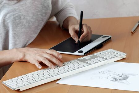 Young artist or graphic designer draws kitten on graphic tablet at the home office. Woman freelance. Indoors, copy space. 版權商用圖片