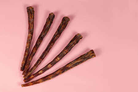 Some dry beef tails on pink background. Dehydrated dog treats, crunchy meat and bones. Homemade pet food, healthy and natural. Big copy space for any text.