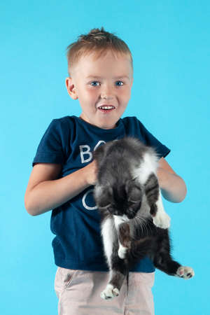 Little caucasian boy with blond hair holding cute kitten on blue background, smiling. Friendship of happy child with cat. Indoors, copy space.