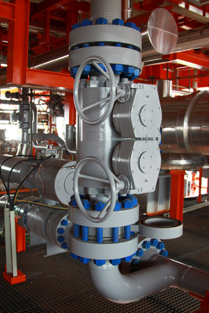 pipe line: Oil and gas processing plant with pipe line valves Stock Photo