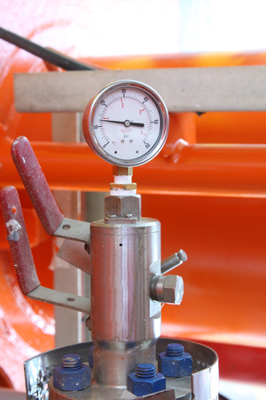 atmospheric pressure: Pressure gauge for measuring pressure in the system, Oil and gas process used pressure gauge to monitor pressure condition inside the system Stock Photo