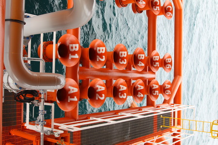 well platform: Oil and Gas Producing Slots at Offshore Platform, Oil and Gas Industry. Well head slot on the platform or rig. Production and Explorer industry.