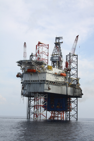 Drilling rig at the sea.