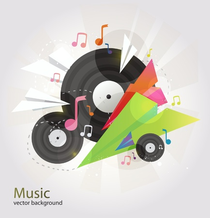 dj turntable: Music vector background. Illustration