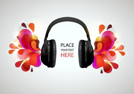 PARLANTE: Los auriculares de la música sobre fondo gris. Ilustración del vector.
