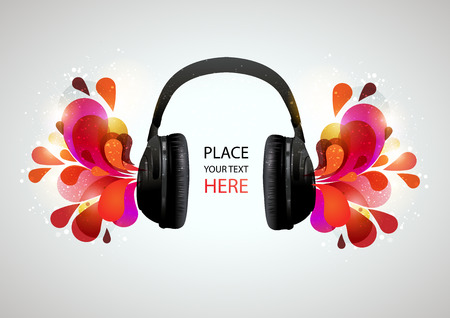 pc tune: Music headphones on gray background. Vector illustration.