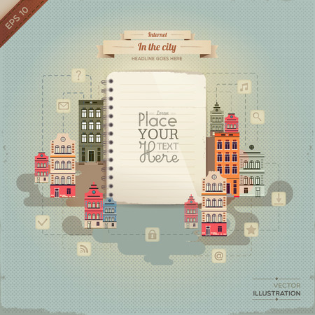 ine: Vintage paper with set of network icons in the city. lined paper or note paper. EPS10 Illustration