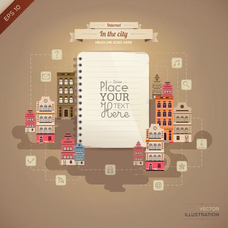 ine: Vintage paper with set of network icons in the city.lined paper or note paper. EPS10