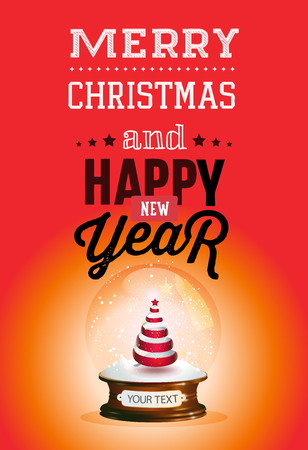 Christmas and new year lettering. Vector illustration on red background.