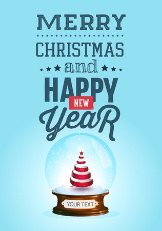 christal: Christmas and new year lettering. Vector illustration on blue background.