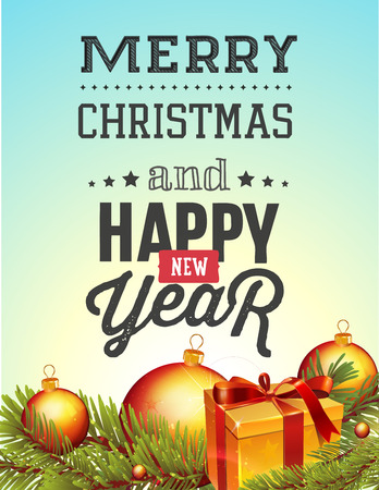 christal: Christmas and new year lettering. Vector illustration on blue background with balls, tree and gift.