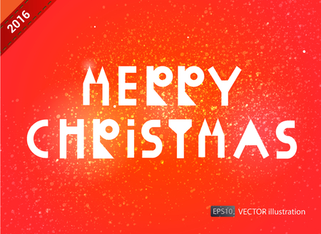greating card: Christmas greating card with white font. Vector illustration on red background.