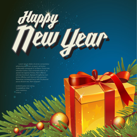 christal: Christmas and new year lettering. Vector illustration on dark background with balls, tree and gift.