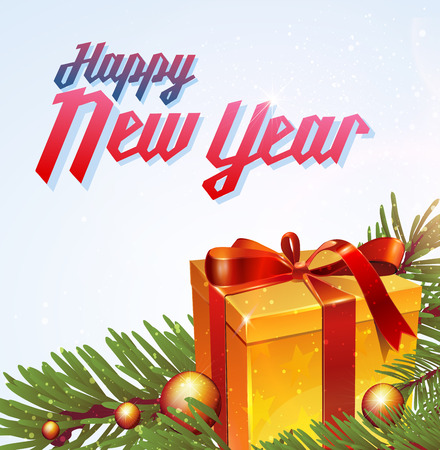 christal: Christmas and new year lettering. Vector illustration on white background with balls, tree and gift. Illustration