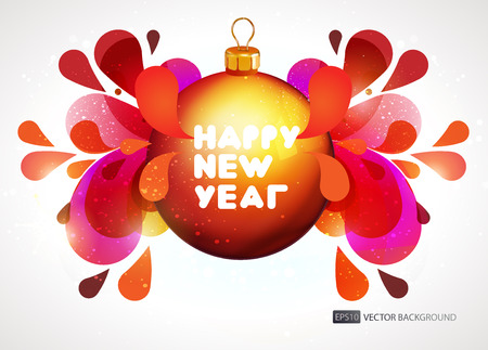 io: New year vector background. Ball with explosion io white background