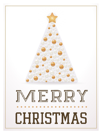 christmas tree illustration: Merry Christmas greeting card with Christmas tree. Vector illustration. EPS10