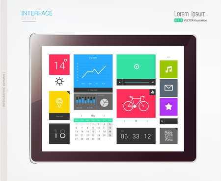 tabletpc: Tablet with interface template and abstract Infographic elements. Vector illustration. eps 10