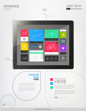 multitouch: Tablet with interface template and abstract Infographic elements. Vector illustration. eps 10