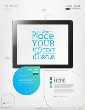 Hands holding a tablet on white background. Abstract Info graphic elements. Vector illustration. Eps 10
