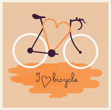 Bicycle silhouette with graphic message. I love bicycle. Vector. EPS10