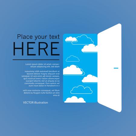 Opend puerta, ilustración éxito. Ilustración vectorial sobre fondo azul. EPS10