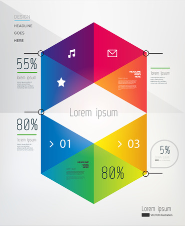 brochure template: Modern, abstract infographics elements in on light background. Vector illustration. Eps10.