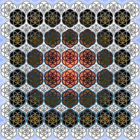 elohim: The Flower of Life Sacred Geometry Art Background Pattern Perfect for Any Commercial or Spiritual Communication Stock Photo
