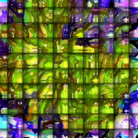 playfulness: Abstract Art - Tiles of Playfulness  Synergy of Light Colors, Impressionism and Tiles