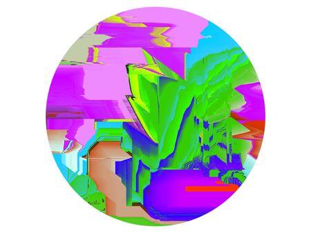 Glitch computer bug pixelated round shape