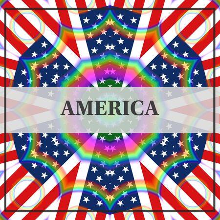 AMERICA banner text on US flag illustration with rainbow colors, unique design 版權商用圖片