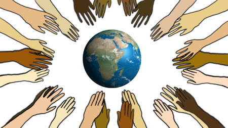 Diversity interconnection hands around earth, ecology concept. White background