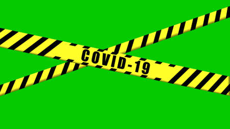 COVID-19 warning Black and Yellow ribbon on isolated green background, Coronavirus danger area, Police cordon to forbid trespassing for life safety, chroma key, compositing.