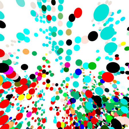 Colorful round shapes on white background. flying balloons, 3d balls. For scientific concept, chemistry, atoms. flat design sphere shape. Party. Celebration. Confetti. Empty space, white area ... Illustration Archivio Fotografico