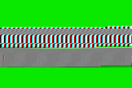 Scrolling of the retro bars of the old television on green screen, vintage television of the 80s, horizontal lines of the VHS videotape, damage, failures, malfunction, damaged tape. Chroma key.