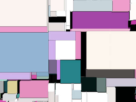3D bstract background of pixelated geometric shapes. Computer screen noise, color geometrical shapes, flat lay colors squares. Trendy patterns design.