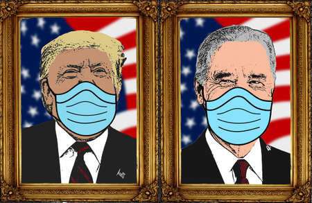 D. Trump and J. Biden masked, presidential portrait, covid19, face mask covid-19 pandemic