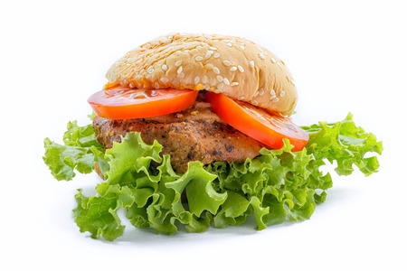 white backgroung: Big chicken hamburger on white backgroung