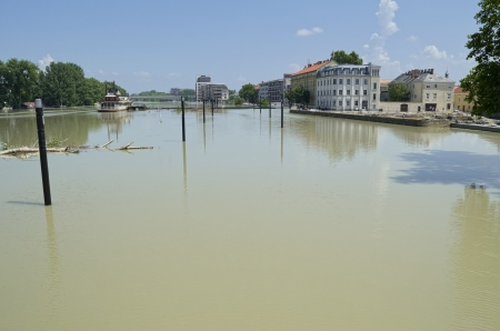 misadventure: Flooding Danube River in Gyor Downtown, Hungary