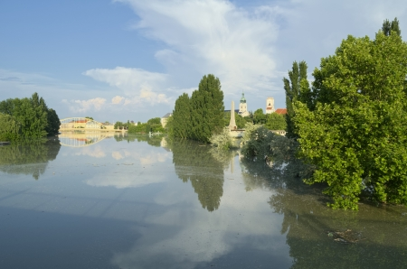 View of Flooded Gyor Town at Sunset When Danube River Reached the Maximum Water Level