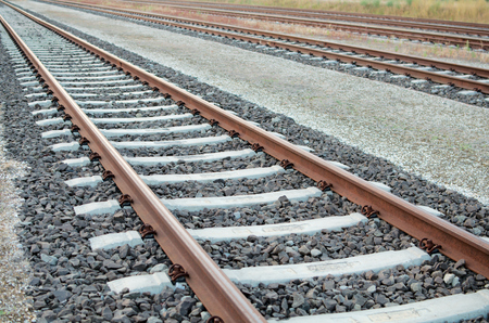 Parallel Railway Tracks with no Trains on Them Stock Photo