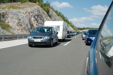 slow lane: Cars Waiting in the Traffic Jam on the Croatian Motorway