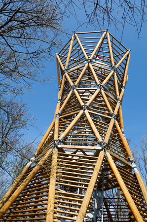 lookout: BADACSONY, HUNGARY - MARCH 18, 2014: The Kisfaludy S?ndor Lookout Tower on Badacsony Hill. The 18 m high lookout tower was built in 1960, then it was reconstructed in 2011.