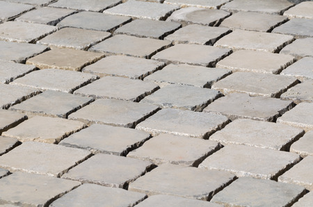 laid: Freshly Laid Cobblestones Side View Closeup Abstract