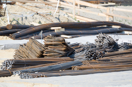 reinforcing: Steel Reinforcing Bars Stack at Construction Area