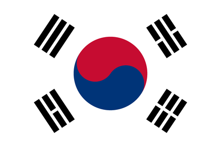 Oficial plana bandera grande de Corea del Sur Horizontal
