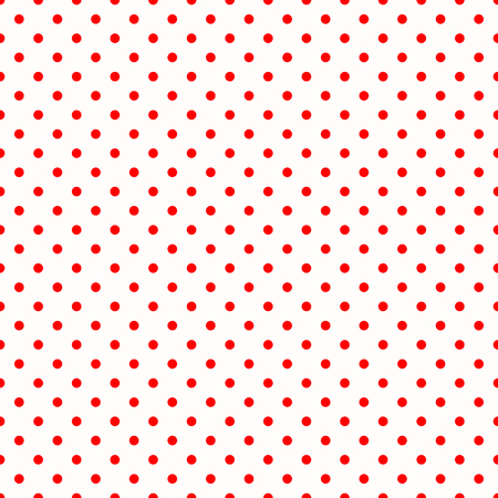aligned: Red Polka Dots on White Background Large Seamless Pattern