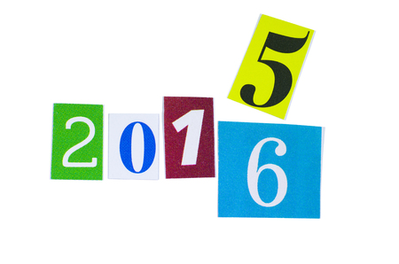 paper cutout: Paper Cutout 2015 and 2016 Year Numbers Isolated on White Background