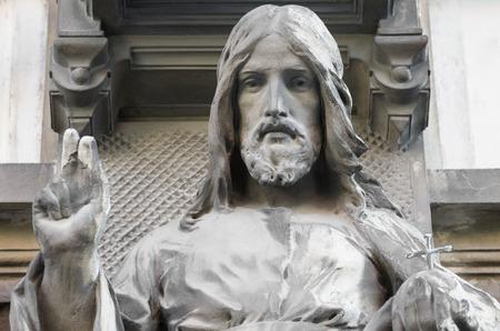 Estatua de la Bendición Jesús Closeup en Bratislava Foto de archivo