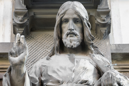 face to face: Statue of Blessing Jesus Closeup in Bratislava Stock Photo