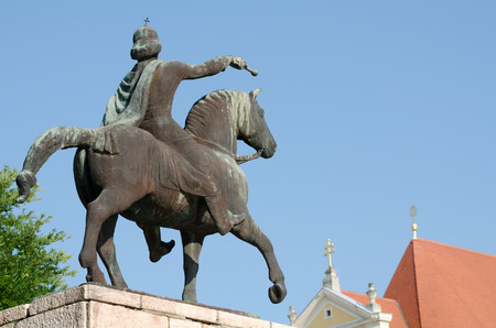 Equestrian Statue of St. Stephen in Gyor from Behind with Clear Blue Sky